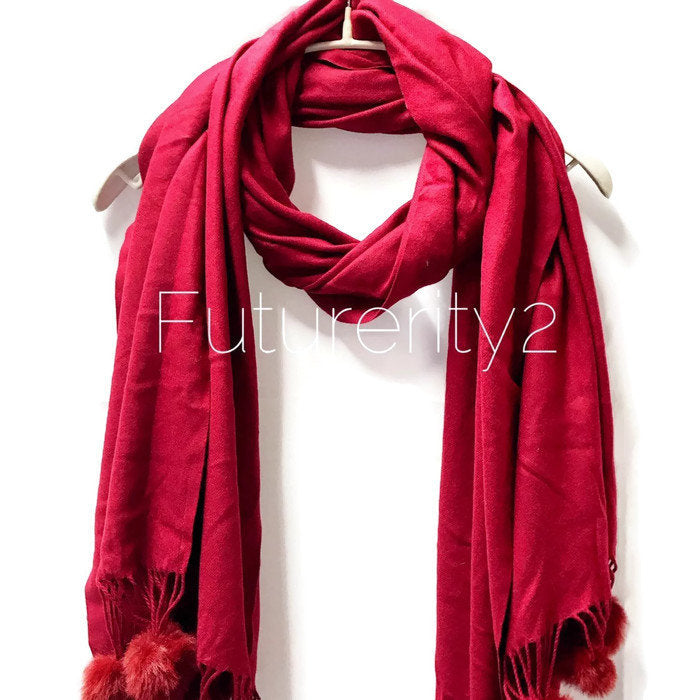 Cashmere With Faux Fur Ponpon Burgundy Scarf/Autumn Winter Scarf/Gifts For Mother/Gifts For Her/Scarves For Women/Christmas Gifts