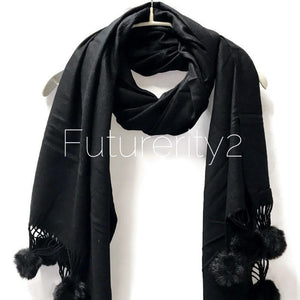 Cashmere With Faux Fur Ponpon Black Scarf/Autumn Winter Scarf/Gifts For Mother/Gifts For Her/Scarves For Women/Christmas Gifts