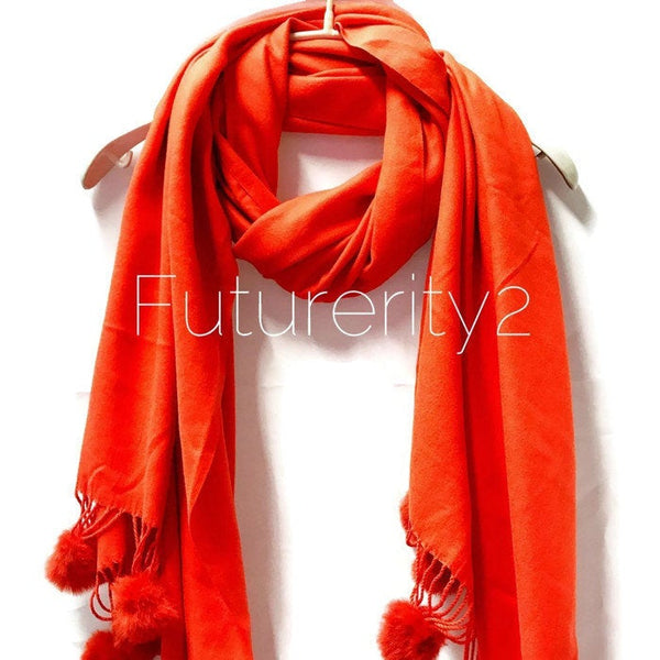 Cashmere With Faux Fur Ponpon Orange Scarf/Autumn Winter Scarf/Gifts For Mother/Gifts For Her/Scarves For Women/Christmas Gifts