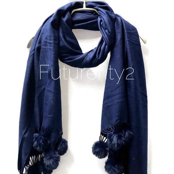 Cashmere With Faux Fur Ponpon Dark Blue Scarf/Autumn Winter Scarf/Gifts For Mother/Gifts For Her/Scarves For Women/Christmas Gifts