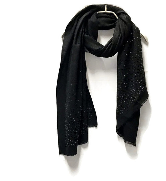 Black Cashmere Scarf With Silver Sparkling Studs/Autumn Winter Scarf/Gifts For Mother/Gifts For Her/Scarf For Women/Christmas Gifts