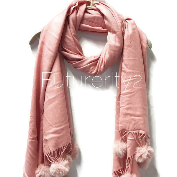 Cashmere With Faux Fur Ponpon light Pink Scarf/Autumn Winter Scarf/Gifts For Mother/Gifts For Her/Scarves For Women/Christmas Gifts