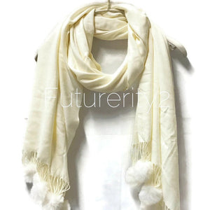 Cashmere With Faux Fur Ponpon Ivory White Scarf/Autumn Winter Scarf/Gifts For Mother/Gifts For Her/Scarves For Women/Christmas Gifts