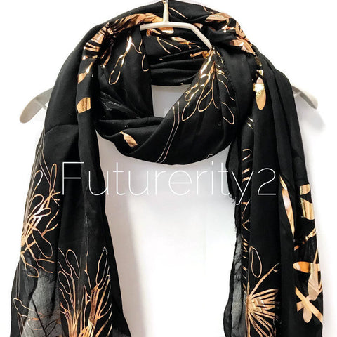 Huge Flower Rose Gold Foil Black Cotton Scarf