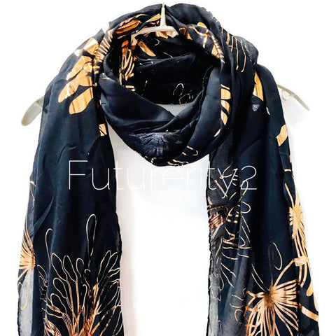 Huge Flower Rose Gold Foil Blue Cotton Scarf