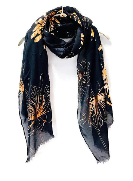 Huge Flower Rose Gold Foil Blue Cotton Scarf/Evening Scarf/Spring Summer Autumn Scarf/Gifts For Her/Scarf For Women/Gifts For Mother