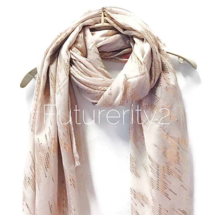 Rose Gold Sequins Print Grey Evening Cotton Scarf/Spring Summer Autumn Scarf/Gifts For Her/Scarf For Women/Gifts For Mother/Birthday Gifts