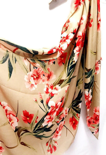 Flowers Bloom Spring Summer Beige Cotton Scarf/Autumn Scarf/Gifts For Her/Gifts For Mother/Scarf For Women/Birthday Gifts/Gifts Idea