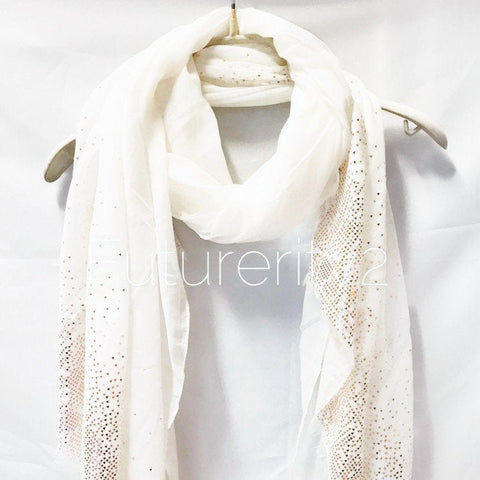 Rose Gold Triangle Flakes Print White Cotton Scarf/Spring Summer Autumn Scarf/Evening Scarf/Gifts for Her/Gifts For Mother/Scarf For Women