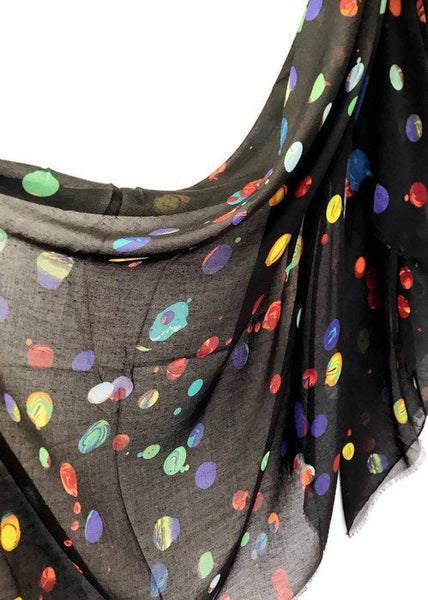 Multicolour bubble Spotty Black Scarf/Spring Summer Scarf/Autumn Scarf/Gifts For Mother/Gifts For Her/Scarf For Women/Birthday Gifts