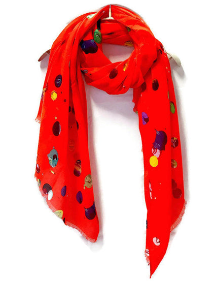 Multicolour bubble Spotty Red Cotton Scarf/Spring Summer Scarf/Autumn Scarf/Gifts For Mother/Gifts For Her/Scarf For Women/Birthday Gifts