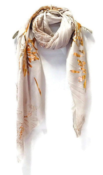 Huge Flower Rose Gold Foil Grey Cotton Scarf/Evening Scarf/Spring Summer Autumn Scarf/Gifts For Her/Scarf For Women/Gifts For Mother