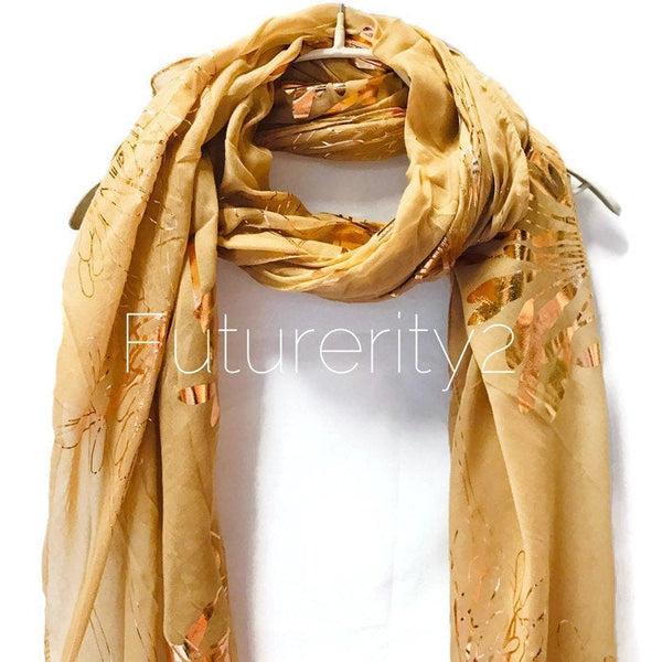 Huge Flower Rose Gold Foil Beige Cotton Scarf/Evening Scarf/Spring Summer Autumn Scarf/Gifts For Her/Scarf For Women/Gifts For Mother