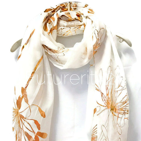 Huge Flower Rose Gold Foil White Evening Cotton Scarf/Spring Summer Autumn Scarf/Gifts For Her/Scarf For Women/Gifts For Mother