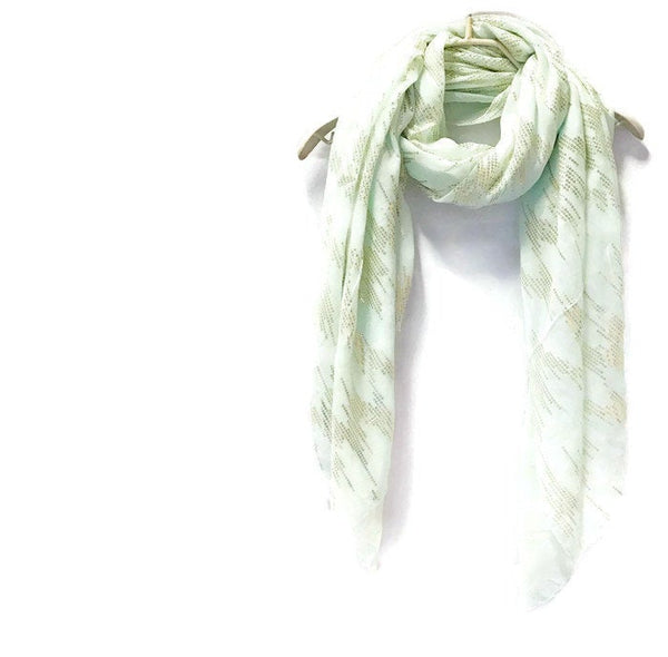 Rose Gold Sequins Print Mint Evening Cotton Scarf/Spring Summer Autumn Scarf/Gifts For Her/Scarf For Women/Gifts For Mother/Birthday Gifts