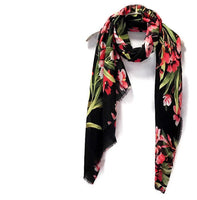 Flowers Bloom Spring Summer Black Cotton Scarf/Autumn Scarf/Gifts For Her/Gifts For Mother/Scarf For Women/Birthday Gifts/Gifts Idea
