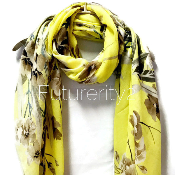 Flowers Bloom Spring Summer Yellow Cotton Scarf/Autumn Scarf/Gifts For Her/Gifts For Mother/Scarf For Women/Birthday Gifts/Gifts Idea