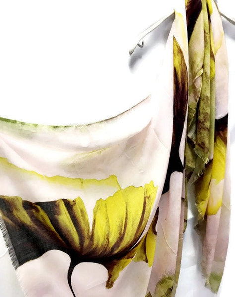 Watercolour Huge Yellow Poppy White Cashmere Scarf/Spring Summer Autumn Scarf/Gifts For Mother/Gifts For Her/Scarf For Women/Birthday Gifts