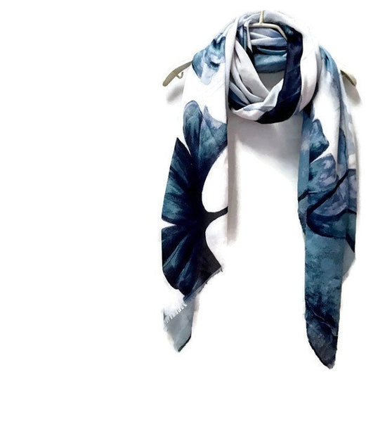 Watercolour Huge Blue Poppy White Cashmere Scarf/Spring Summer Autumn Scarf/Gifts For Mother/Gifts For Her/Scarf For Women/Birthday Gifts