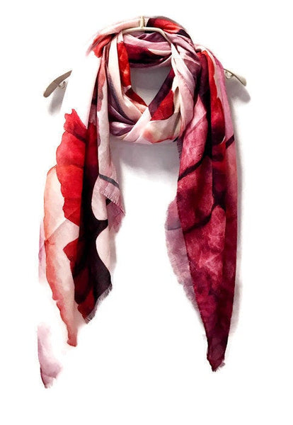 Watercolour Huge Red Poppy Pink Cashmere Scarf/Spring Summer Autumn Scarf/Gifts For Mother/Gifts For Her/Scarf For Women/Birthday Gifts