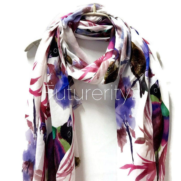 Watercolour Purple Robin Birds Off White Cashmere Scarf/Spring Summer Scarf/Autumn Winter Scarf/Gifts For Her/Gifts For Women/Birthday Gifts