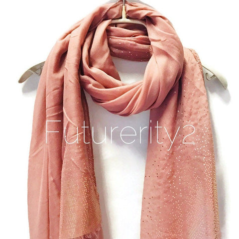 Rose Gold Triangle Flakes Print Pink Cotton Scarf/Spring Summer Autumn Scarf/Evening Scarf/Gifts for Her/Gifts For Mother/Scarf For Women