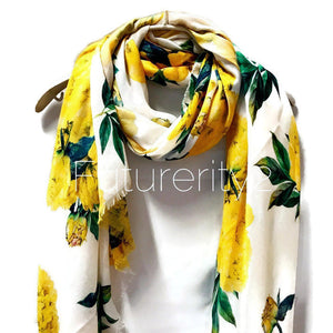 Yellow Peony Flower White Cashmere Scarf/Summer Autumn Winter Scarf/Gifts For Mother/Gifts For Her/Scarf For Women/Birthday Gifts/Gifts Ide