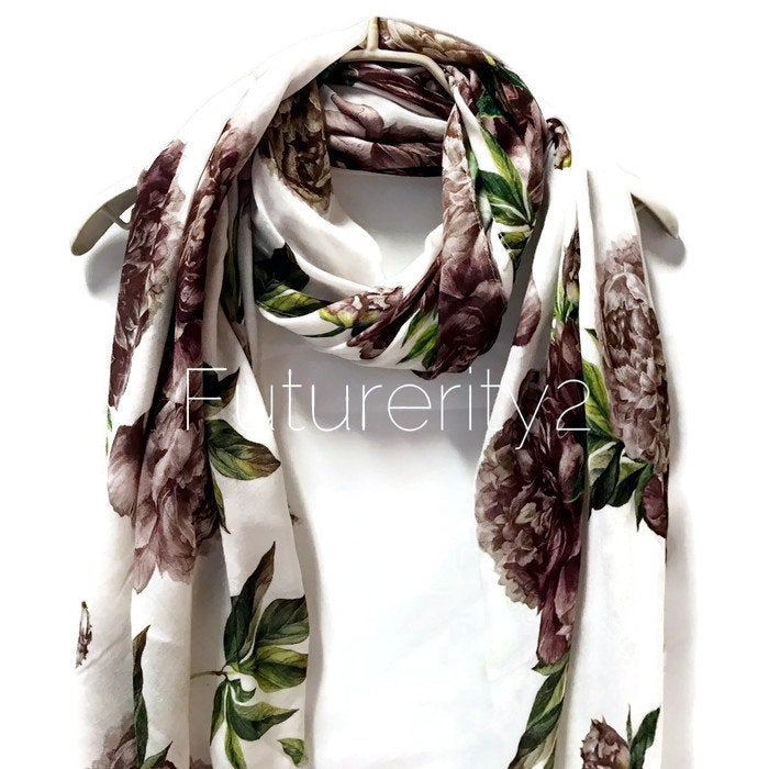 Brown Peony Flower White Cashmere Scarf/Summer Autumn Winter Scarf/Gifts For Mother/Gifts For Her/Scarf For Women/Birthday Gifts/Gifts Idea