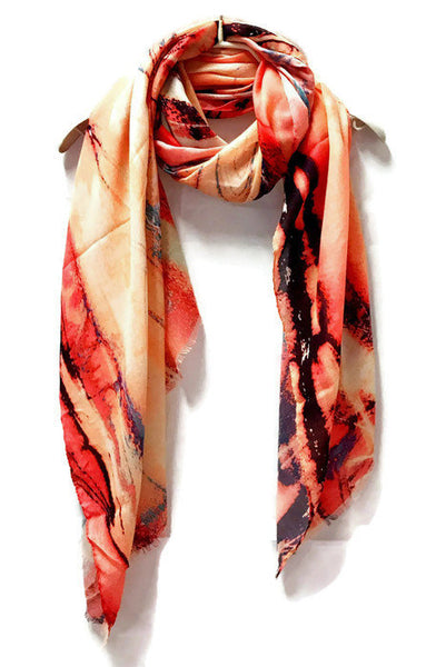 Marble Patterns Peach Pink Light Weight Cashmere Scarf