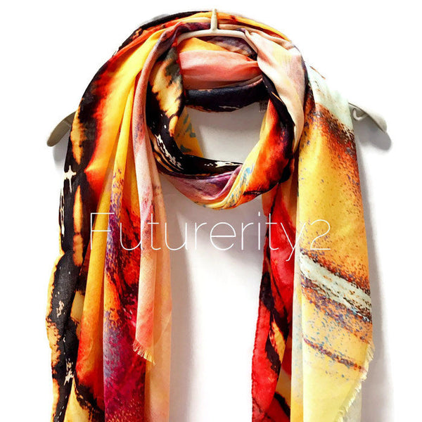 Marble Patterns Yellow Pink Light Weight Cashmere Scarf