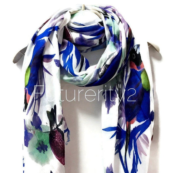 Watercolour Blue Robin Birds Off White Cashmere Scarf/Spring Summer Scarf/Autumn Winter Scarf/Gifts For Her/Gifts For Women/Birthday Gifts
