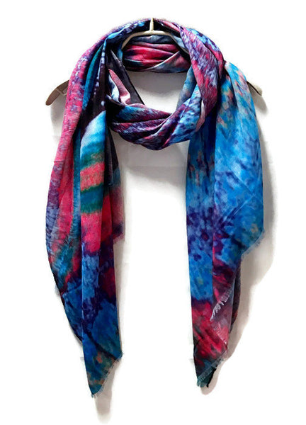 Marble Patterns Blue Purple Light Weight Cashmere Scarf