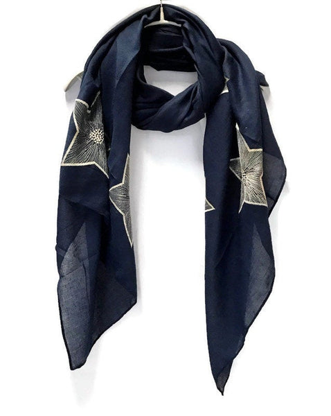 Embroidered Star Navy Blue Cotton Scarf/Spring Summer Autumn Scarf/Gifts For Mom/Gifts For Her/Birthday Gifts/Scarves For Women