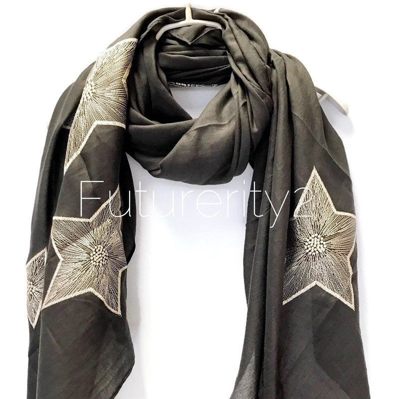 Embroidered Star Dark Grey Cotton Scarf/Spring Summer Autumn Scarf/Gifts For Mom/Gifts For Her/Birthday Gifts/Scarves For Women