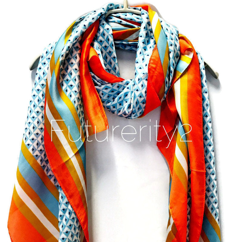 Masaic Tiles Pattern Orange Trim Blue Silk Scarf/Spring Summer Scarf/Gifts For Her/Gifts For Mom/Scarves For Women/Birthday Gifts