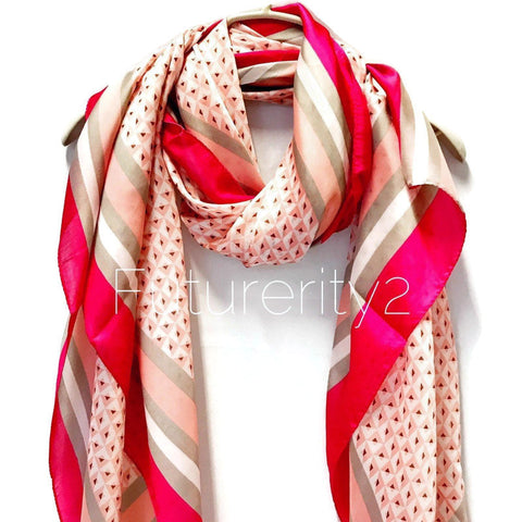 Masaic Tiles Pattern Fuchsia Trim Pink Silk Scarf/Spring Summer Scarf/Gifts For Her/Gifts For Mom/Scarves For Women/Birthday Gifts