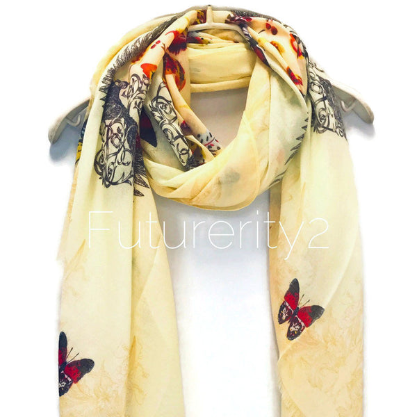 Butterflys And Feathers With Beige Trim Yellow Cotton Scarf/Spring Summer Scarf/Gifts For Her/Gifts For Mom/Scarf For Women/Birthday Gifts
