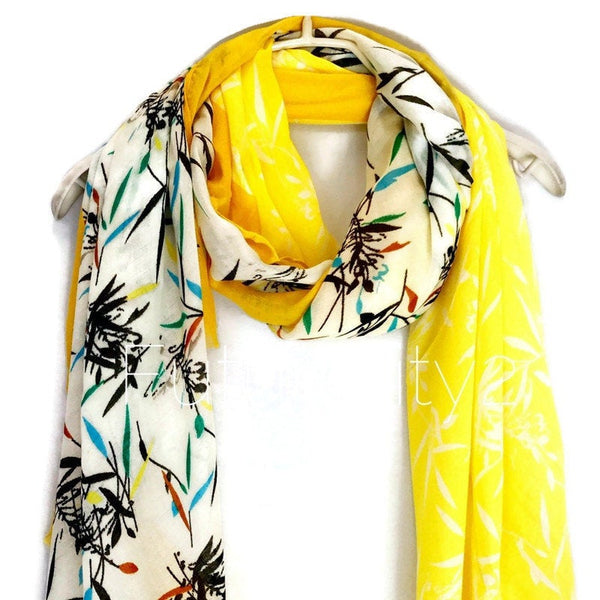 Bamboo Yellow Trim Off White Cotton Scarf/Spring Summer Scarf/Gifts For Mom/Gifts For Her/Women Scarf/Christmas Gifts