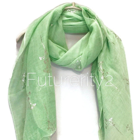 Silver Foil Leafs Branch Light Green Cotton Scarf/Spring Summer Autumn Scarf/Scarves Women/Gifts For Her/Gifts For Mom/Christmas Gifts