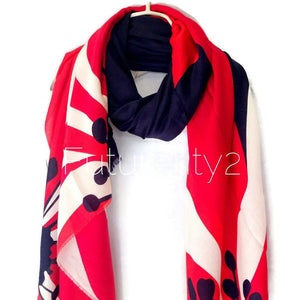 Digital Printed Large Flower Pattern Red Blue Cotton Scarf/Summer Autumn Scarf/Scarves For Women/Gifts For Her/Gifts For Mom