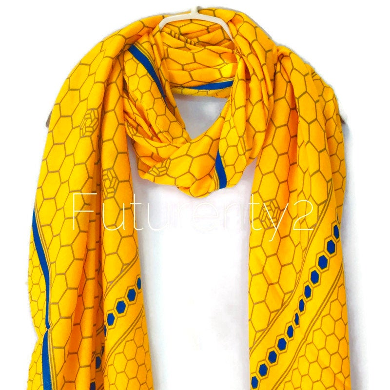 Honeycombs Pattern With Blue Trim Yellow Cotton Scarf/Autumn Winter Scarf/Summer Scarf/Scarves For Women/Gifts For Her/Gifts For Mom