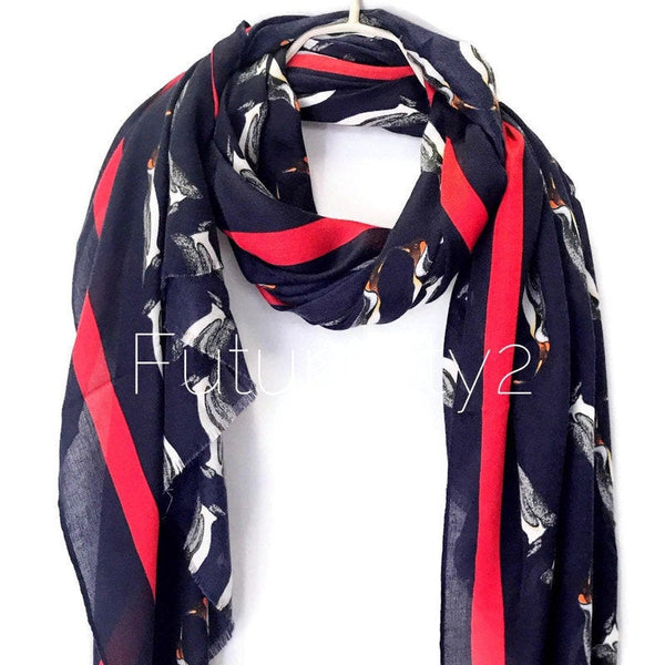 Penguins With Red Trim Dark Blue Cotton Scarf