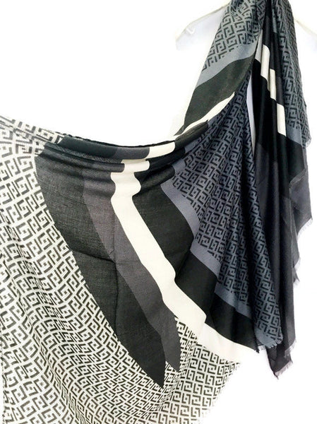 Geometric stripes Pattern Grey Black Cotton Scarf/Autumn Winter Scarf/Spring Summer Scarf/Scarves For Women/Gifts For Her/Gifts For Mother