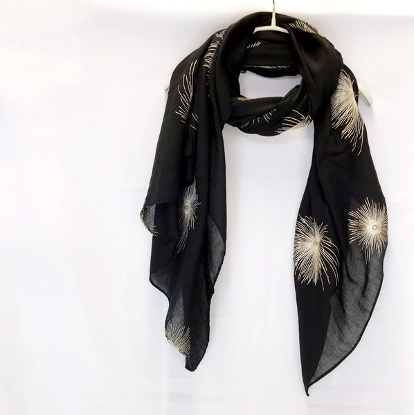 Embroidered Dandelion Flowers Black Cotton Scarf