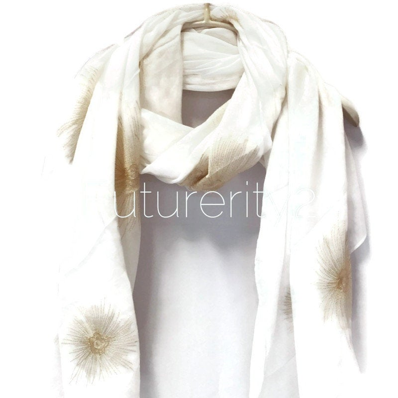 Embroidered Dandelion Flowers White Cotton Scarf