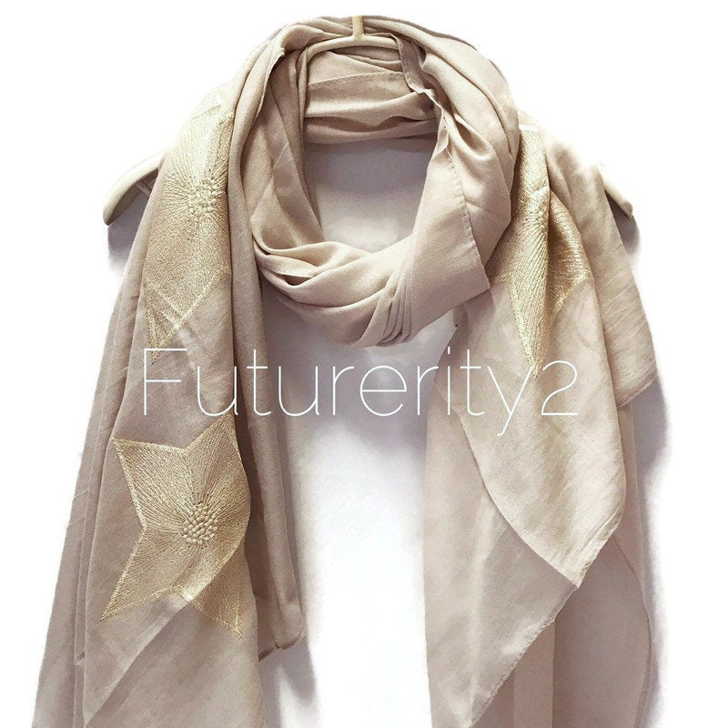 Embroidered Star Light Grey Cotton Scarf/Spring Summer Autumn Scarf/Gifts For Mom/Gifts For Her/Birthday Gifts/Scarves For Women