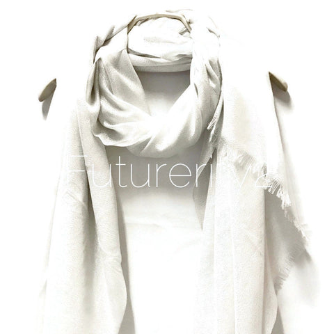 Shimmering Plain White Scarf/Spring  Summer Scarf/Evening Scarf/Gifts For Mom/Gifts For Her/Wedding Scarf/Scarves For Women