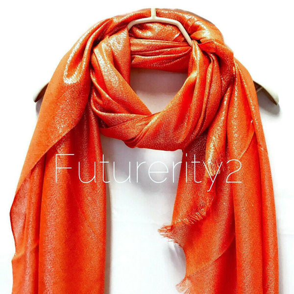 Shimmering Plain Orange Scarf/Spring  Summer Scarf/Evening Scarf/Gifts For Mom/Gifts For Her/Wedding Scarf/Scarves For Women
