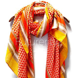 Masaic Tiles Pattern Yellow Trim Orange Silk Scarf/Spring Summer Scarf/Gifts For Her/Gifts For Mom/Scarves For Women/Birthday Gifts