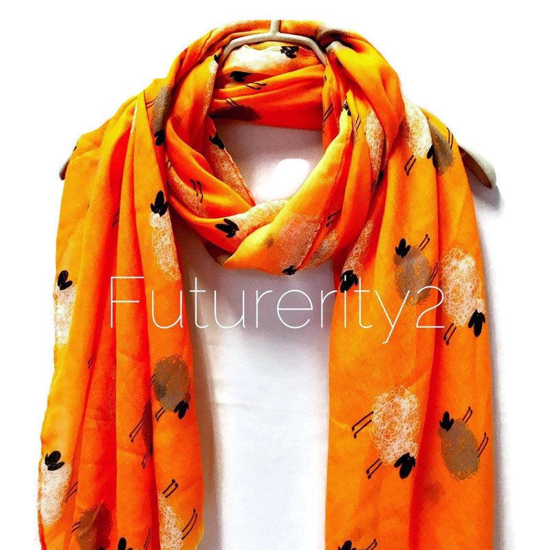 Sketched Sheeps Orange Cashmere Scarf/Summer Autumn Winter Scarf/Gifts For Mom/Gifts For Her/Birthday Gifts/Christmas Gifts/Scarves Women
